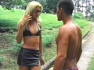 Blonde TS babe Dany has a chance meeting with a guy in the park