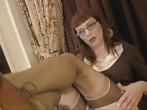 Tara Jerks Her Throbbing Cock & Cums on Her Glasses